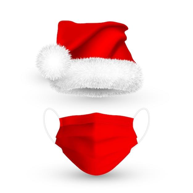 Красная шляпа санта-клауса и медицинская маска для лица на рождественские праздники. Premium векторы