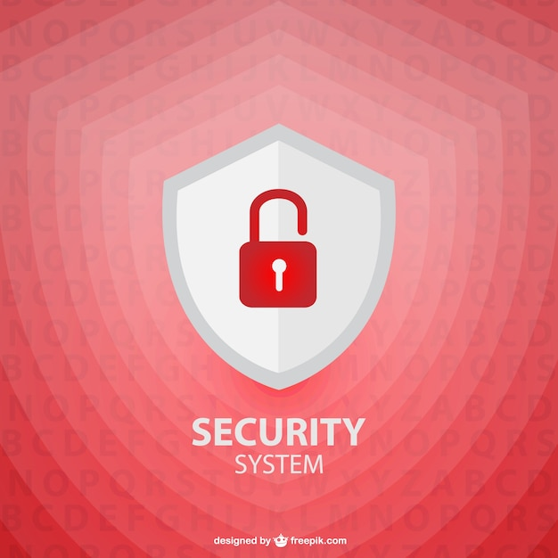 Red security lock in a shield Free Vector