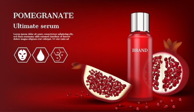 Red serum with icons and slice pomegranate Premium Vector