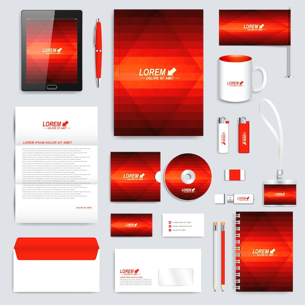 Red set of  corporate identity template. Premium Vector