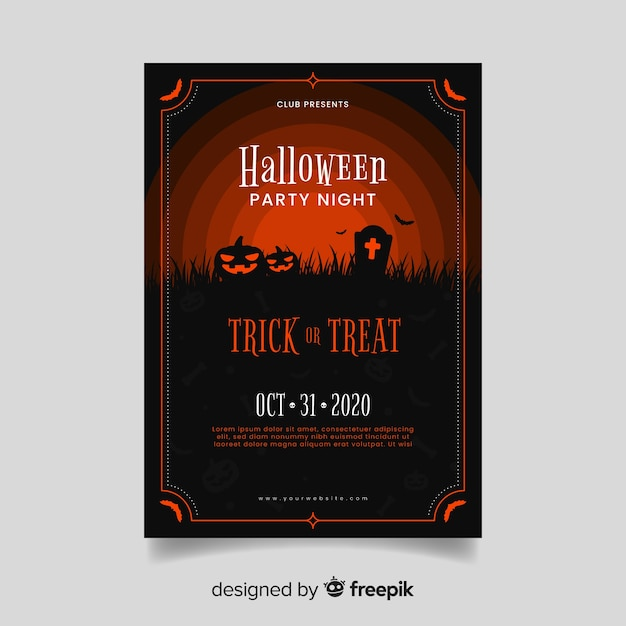 Red shades of zombie pumpkins halloween party poster Free Vector