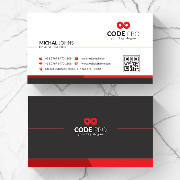 Red shape visit card Premium Vector