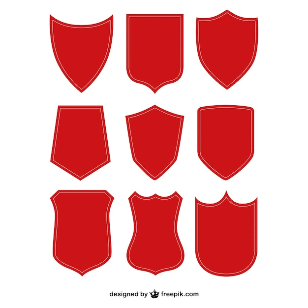 Red Shield Shapes Free Vector
