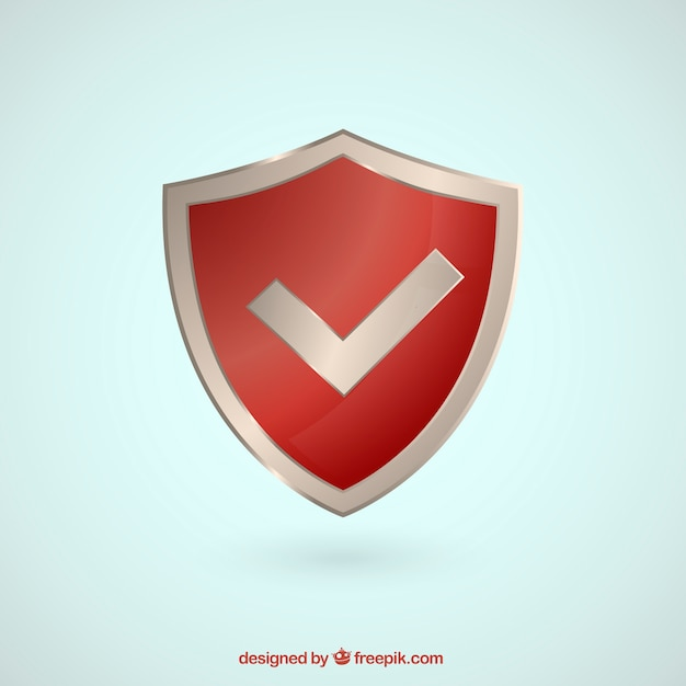 Red shield with check symbol Free Vector