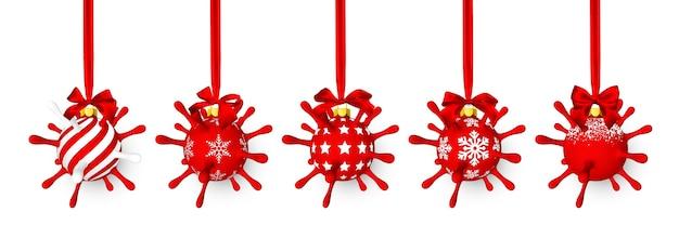 赤い弓を持つウイルスユニットのような赤い光沢のある輝くクリスマスボール Premiumベクター