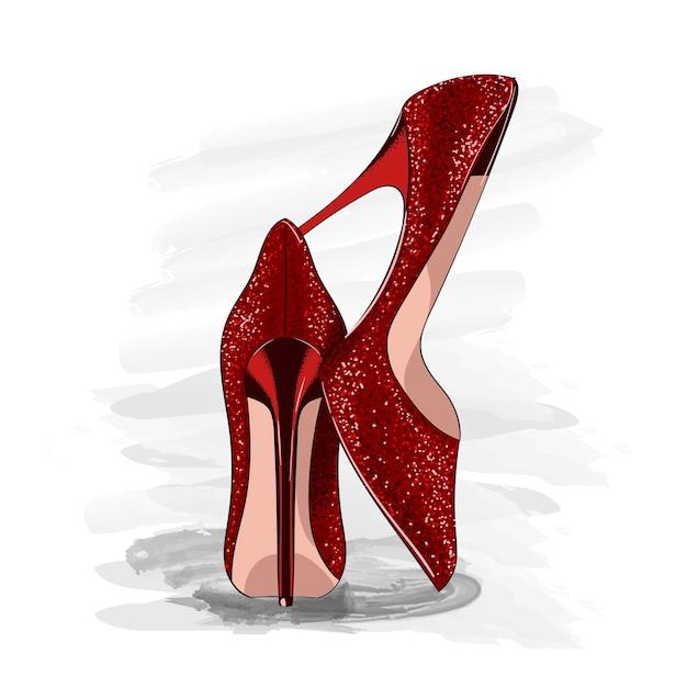 Red shiny heels shoes Premium Vector