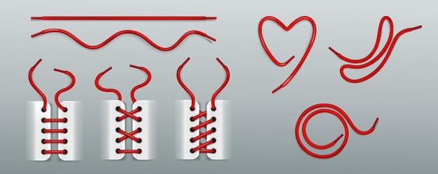Lacci delle scarpe rossi, allacciatura con corde in scarpe da ginnastica in modi diversi Vettore gratuito