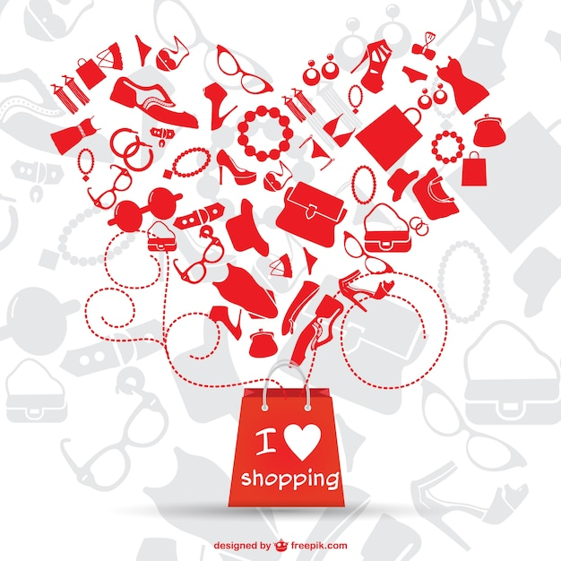 Red shopping bag and big heart made of fashion complements Free Vector