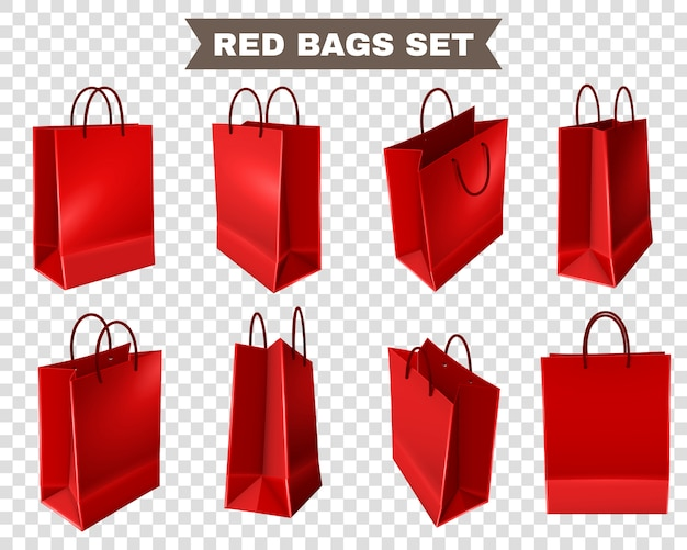 Red shopping bags set Free Vector