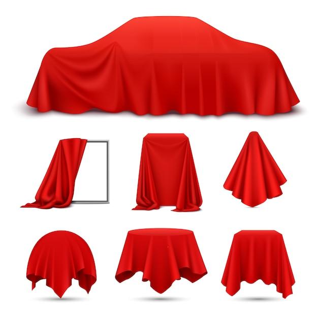 赤い絹の布は、ナプキンのテーブルクロスのカーテンをぶら下げドレープフレーム車で現実的なオブジェクトをカバー 無料ベクター