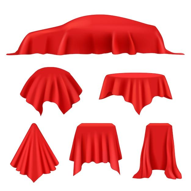 赤い絹で覆われています。リビール布リアル展示カーテンロイヤルカバー表示ベクトルコレクション。 Premiumベクター