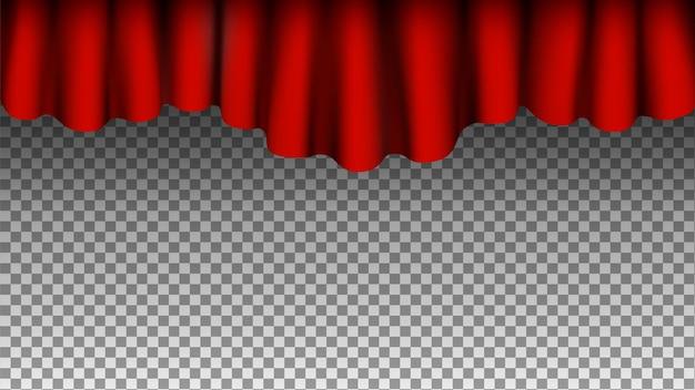 붉은 실크 커튼 배경. 투명 한 배경에 고립 된 커튼입니다. 프리미엄 벡터