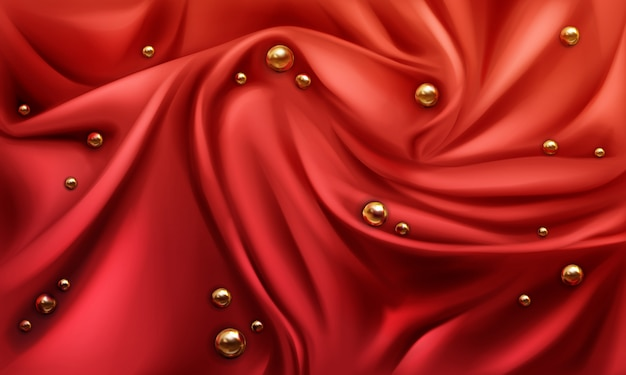 Red silk draped fabric background with gold randomly scattered shiny spheres or pearls. Free Vector