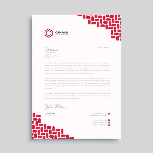 Red simple letterhead premium Premium Vector