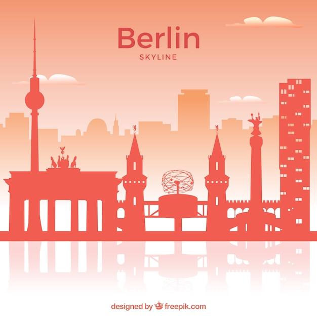 Red skyline of berlin Free Vector