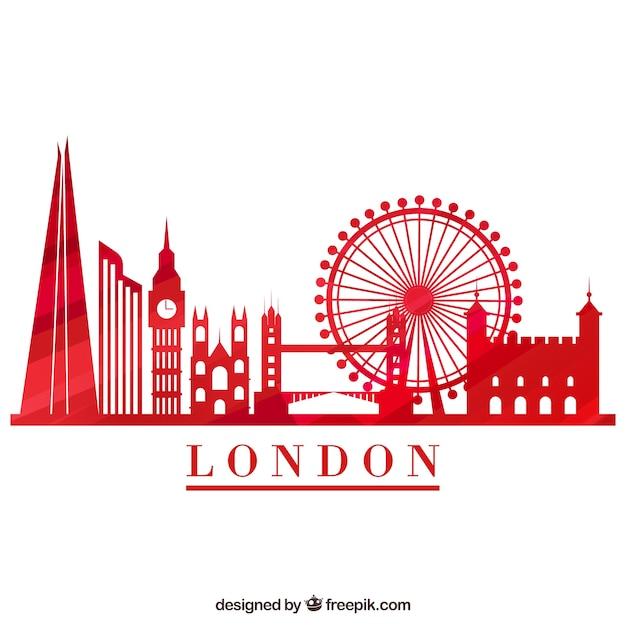 ロンドンの赤いスカイライン 無料ベクター