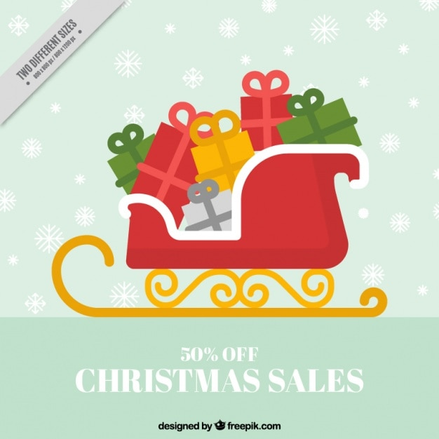 Red sleigh background with gifts Free Vector