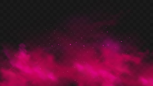 赤い煙または霧の色が透明な暗い背景に分離されました。粒子と抽象的なピンクの粉の爆発。カラフルなダストクラウドが爆発し、ホーリー、ミストスモッグ効果をペイントします。リアルなイラスト Premiumベクター