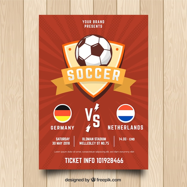 red soccer flyer template vector free download
