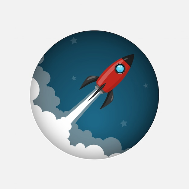 Red space rocket launch model icon and flame on night sky and smoke background. Premium Vector