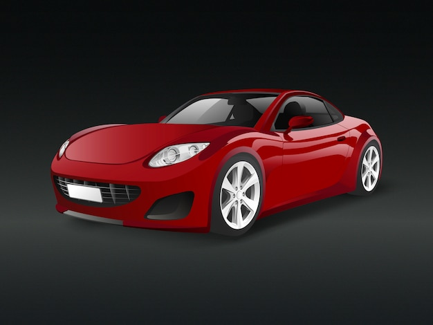 Red sports car in a black background vector Free Vector