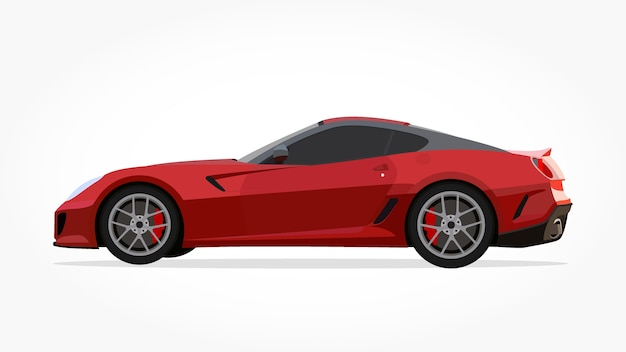 Red Sports Car Cartoon With Detailed Side And Shadow Effect Vector