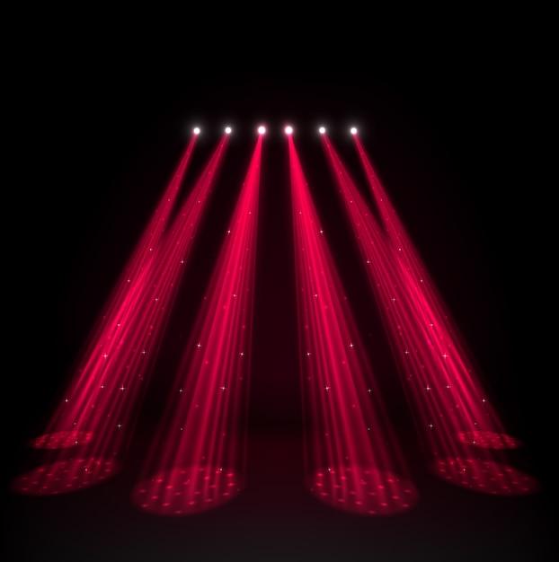 Red spotlights on dark background Premium Vector
