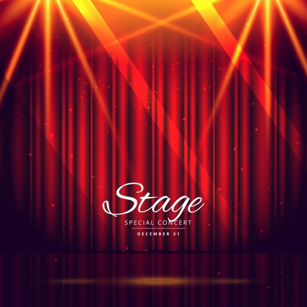 Red Stage Background With Closed Curtains Vector Free