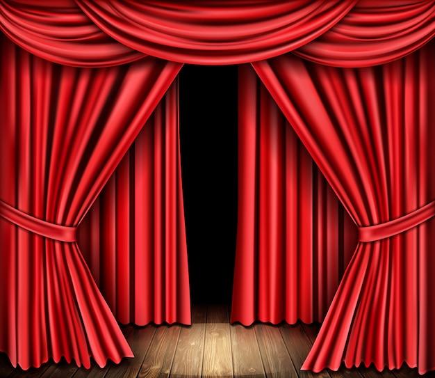 Красный занавес для театра, драпировки оперной сцены Бесплатные векторы