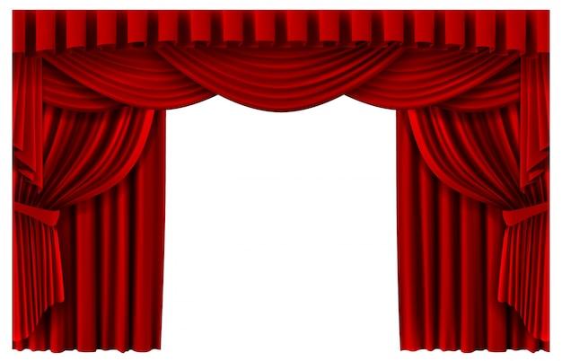 レッドステージカーテン。現実的な劇場シーンの背景、シネマプレミアポーターカーテン、血色の良い式幕テンプレートイラスト。プレミア、ステージのリアルな入り口を示す赤いカーテン Premiumベクター