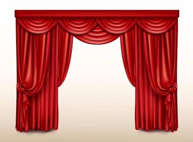 Sipario rosso per teatro, drappo di scena d'opera Vettore gratuito