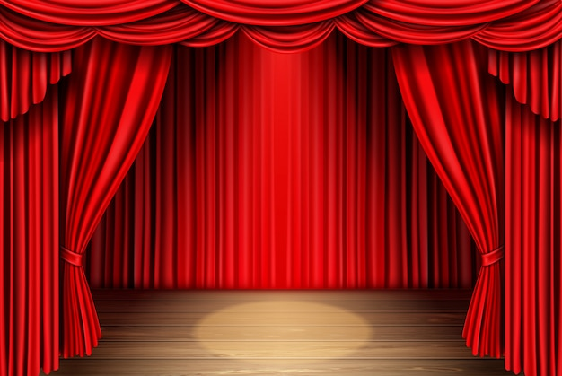 Red stage curtain for theater, opera scene drape Free Vector