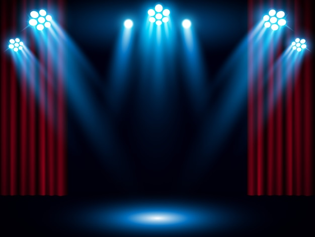 Red stage curtain with blue spotlight Premium Vector