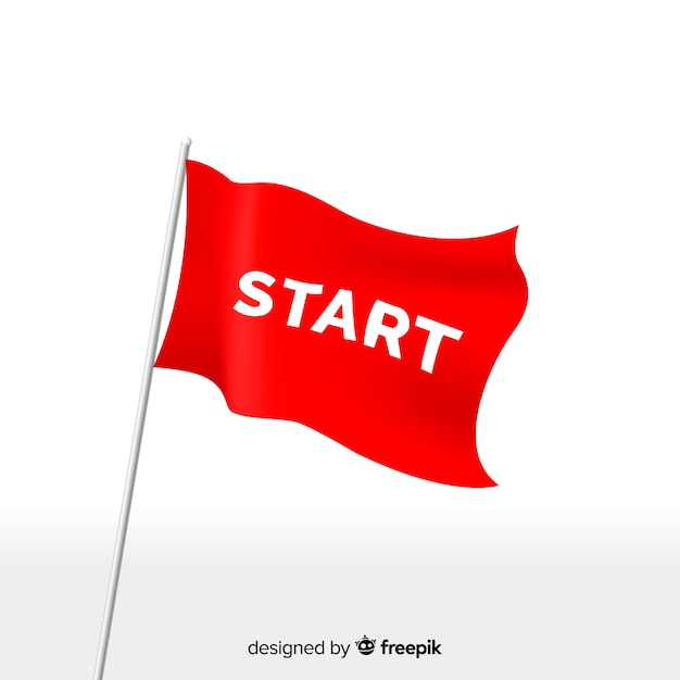 Red start flag with modern style Free Vector