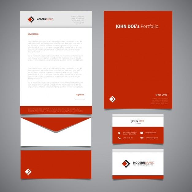 Red stationery deisgn Free Vector