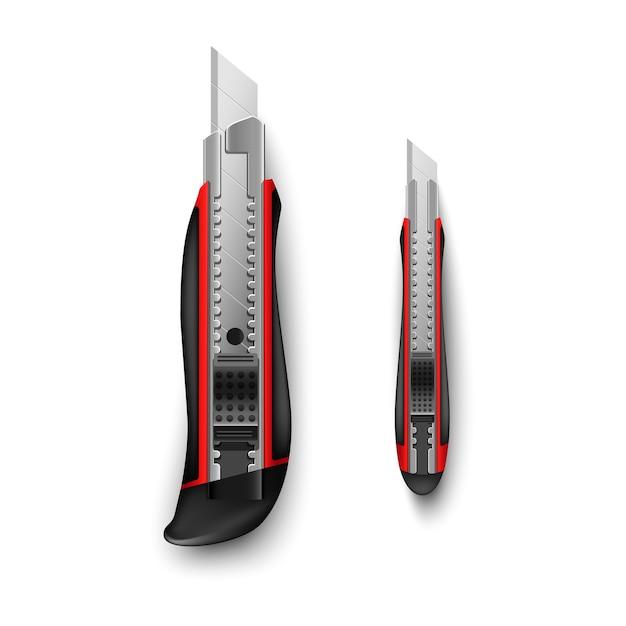 Красный канцелярский нож большой и маленький на белом фоне Premium векторы