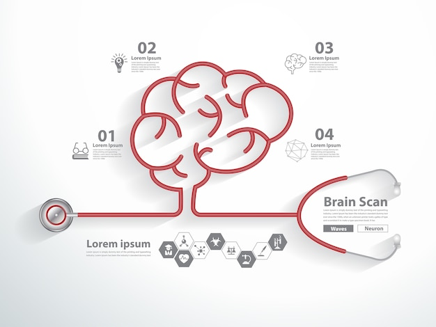Red stethoscope in shape of brain scan with science icons Premium Vector