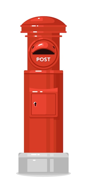 Red street english post box isolated Premium Vector