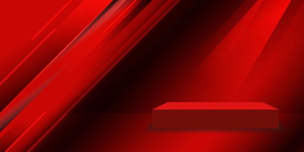 Красная студия с геометрическим фоном Бесплатные векторы