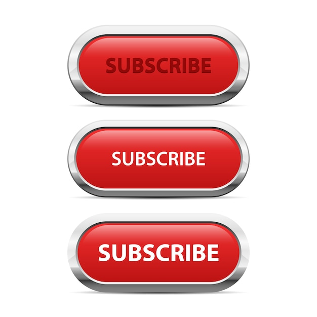 Red subscribe button   illustration  on white background Premium Vector