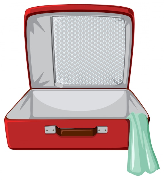 Red suitcase white background Free Vector