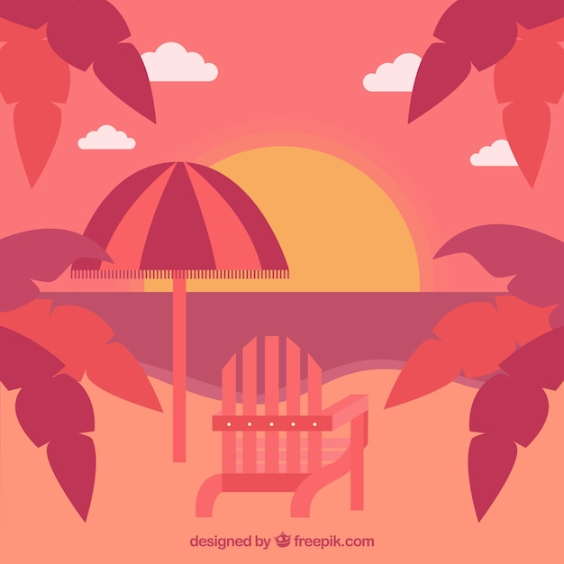 Red sunset with palm trees background