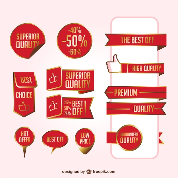 Red super quality stickers Free Vector