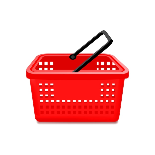 고립 된 빨간 슈퍼마켓 바구니 무료 벡터