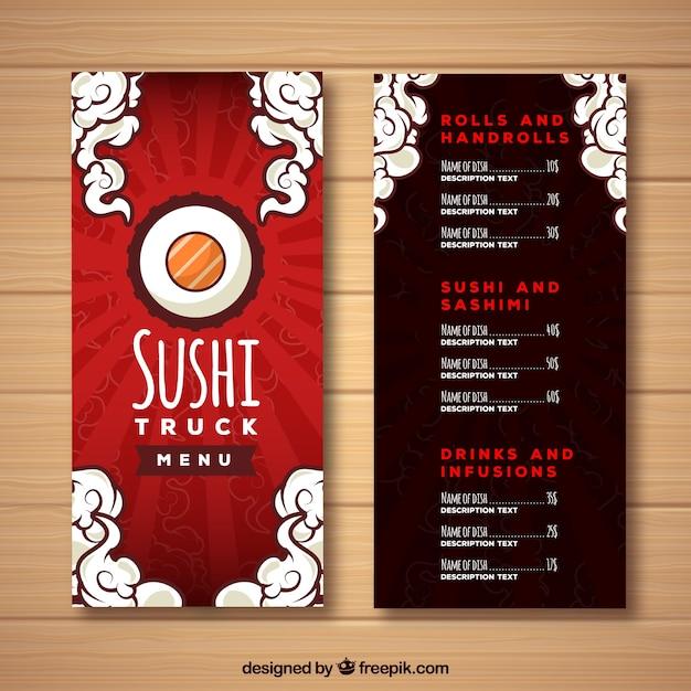 Red sushi menu design Free Vector