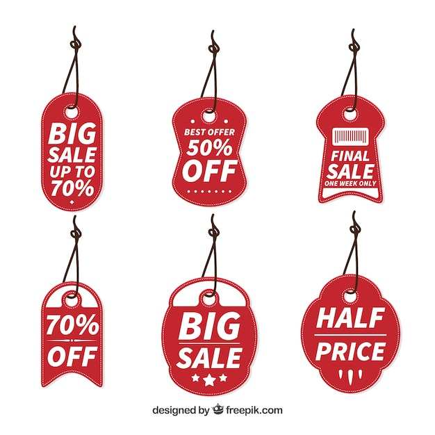 Red tags set of offers
