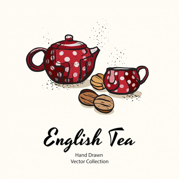 Red teapot and cup with white polka dots and biscuits nuts Premium Vector