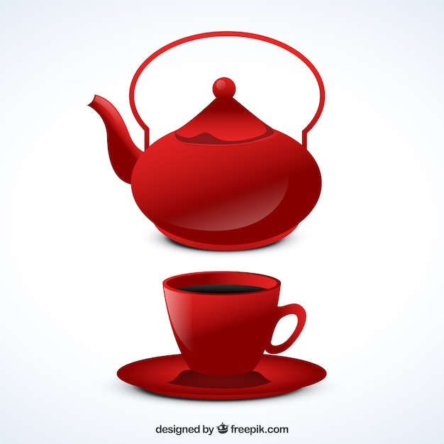 Red teapot and cup Free Vector