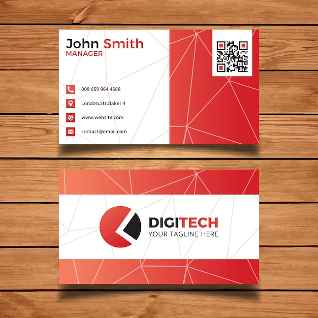 Red technology business card vector free download red technology business card free vector reheart Gallery