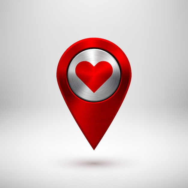 Red technology gps map pointer Premium Vector